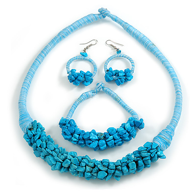 Ethnic Handmade Turquoise Stone with Cotton Cord Necklace, Bracelet and Hoop Earrings Set - 56cm L