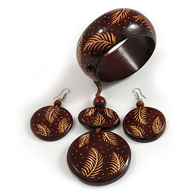 Long Brown Cord Wooden Pendant with Floral Motif, Drop Earrings and Bangle Set in Brown - 76cm L/ Medium Size Bangle