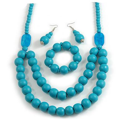 Chunky Turquoise Blue Long Wooden Bead Necklace, Flex Bracelet and Drop Earrings Set - 90cm Long