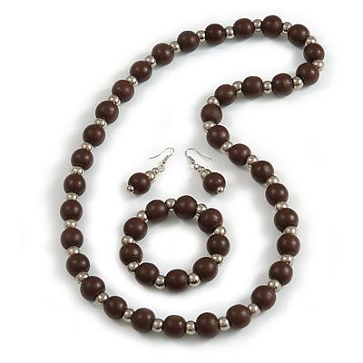 Dark Brown Wood and Silver Acrylic Bead Necklace, Earrings, Bracelet Set - 70cm Long