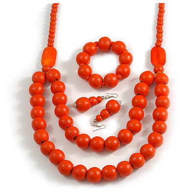 Chunky Orange Long Wooden Bead Necklace, Flex Bracelet and Drop Earrings Set - 90cm Long