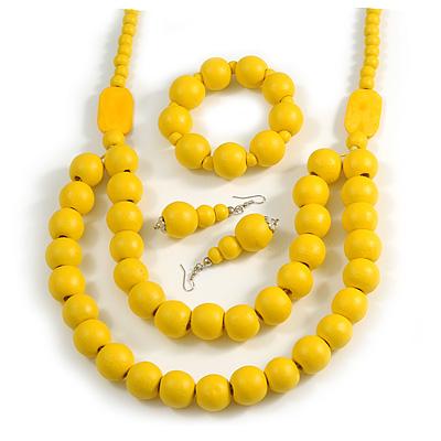 Chunky Yellow Long Wooden Bead Necklace, Flex Bracelet and Drop Earrings Set - 90cm Long