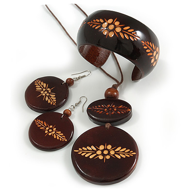 Long Brown Cord Wooden Pendant with Floral Motif, Drop Earrings and Cuff Bangle Set in Brown - 76cm L/ M Size Bangle