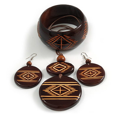 Long Brown Cord Wooden Pendant with with Tribal Motif, Drop Earrings and Bangle Set in Brown - 76cm L/ M Size Bangle