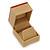 Light Brown/Beige Leatherette/Wood Stud Earrings Box