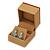 Light Brown/Beige Leatherette/Wood Stud Earrings Box - view 2