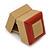 Light Brown/Beige Leatherette/Wood Stud Earrings Box - view 5
