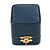 Victorian Style Dark Blue Snake Leatherette Box for Rings With Gold Tone Metal Closure - view 6