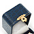 Victorian Style Dark Blue Snake Leatherette Box for Rings With Gold Tone Metal Closure - view 4