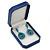 Large Blue Leatherette Brooch/ Pendant/ Earrings Octagonal Jewellery Box - view 6