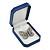 Large Blue Leatherette Brooch/ Pendant/ Earrings Octagonal Jewellery Box - view 7