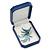 Large Blue Leatherette Brooch/ Pendant/ Earrings Octagonal Jewellery Box - view 9