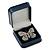Luxury Square Dark Blue Snake Leatherette Brooch/ Pendant/ Earrings Jewellery Box - view 5