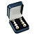 Luxury Square Dark Blue Snake Leatherette Brooch/ Pendant/ Earrings Jewellery Box - view 3