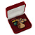 Large Luxury Square Burgundy Velour Brooch/ Pendant/ Earrings Jewellery Box - view 10