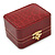 Victorian Style Burgundy Red Snake Leatherette Box for One & Two Rings With Gold Tone Metal Closure - view 2
