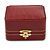 Victorian Style Burgundy Red Snake Leatherette Box for One & Two Rings With Gold Tone Metal Closure - view 8