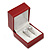 Burgundy Red Leatherette Two Ring Or Stud Earrings Box (The Rings Are Not Included) - view 3