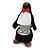Black/ White Velour Penguin Jewellery Box For Small Ring/ Stud Earrings - view 3