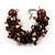 Teen/ Children/ Kids Black/ Brown Glass Bead Chunky Bracelet - 15cm L/ 3cm Ext
