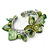 Green Sea Shell, Faux Pearl Bead Floral Cuff Bracelet In Silver Tone - Adjustable - view 3