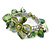Green Sea Shell, Faux Pearl Bead Floral Cuff Bracelet In Silver Tone - Adjustable - view 4