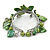 Green Sea Shell, Faux Pearl Bead Floral Cuff Bracelet In Silver Tone - Adjustable - view 5