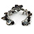 Grey Sea Shell, Black Ceramic Bead Floral Cuff Bracelet In Silver Tone - Adjustable - view 4