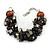 Teen/ Children/ Kids Black/ Dark Grey Glass Bead Chunky Bracelet - 15cm L/ 3cm Ext