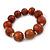 Light Brown Graduated Wood Bead Flex Bracelet - 18cm L