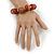 Light Brown Graduated Wood Bead Flex Bracelet - 18cm L - view 2