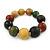 Multicoloured Graduated Wood Bead Flex Bracelet - 18cm L