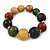 Multicoloured Graduated Wood Bead Flex Bracelet - 18cm L - view 3