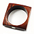 Square Wood  Bangle With Shell Inlay Circles (Brown & Light Cream) - view 2