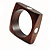Square Wood  Bangle With Shell Inlay Circles (Brown & Light Cream) - view 5