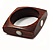 Square Wood  Bangle With Shell Inlay Circles (Brown & Light Cream)