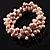 3 Strand Lilac Freshwater Pearl Wrap Bangle Bracelet (6mm) - view 5