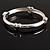Rhodium Plated Hinged Heart Bangle Bracelet