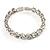 Stunning Bridal Clear Crystal Flex Bangle Bracelet (Silver Tone) - view 3