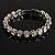 Stunning Bridal Clear Crystal Flex Bangle Bracelet (Silver Tone) - view 2