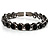 Stunning Black CZ Crystal Flex Bangle Bracelet (Black Tone) - view 4