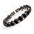 Stunning Black CZ Crystal Flex Bangle Bracelet (Black Tone) - view 3