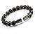 Stunning Black CZ Crystal Flex Bangle Bracelet (Black Tone) - view 5