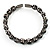 Stunning Black CZ Crystal Flex Bangle Bracelet (Black Tone) - view 6