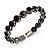 Stunning Black CZ Crystal Flex Bangle Bracelet (Black Tone)