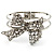 Silver Tone Crystal Bow Hinged Bangle Bracelet - view 3