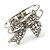 Silver Tone Crystal Bow Hinged Bangle Bracelet - view 5