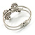 Silver Tone Crystal Bow Hinged Bangle Bracelet - view 9