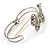 Silver Tone Crystal Bow Hinged Bangle Bracelet - view 6