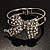 Silver Tone Crystal Bow Hinged Bangle Bracelet
